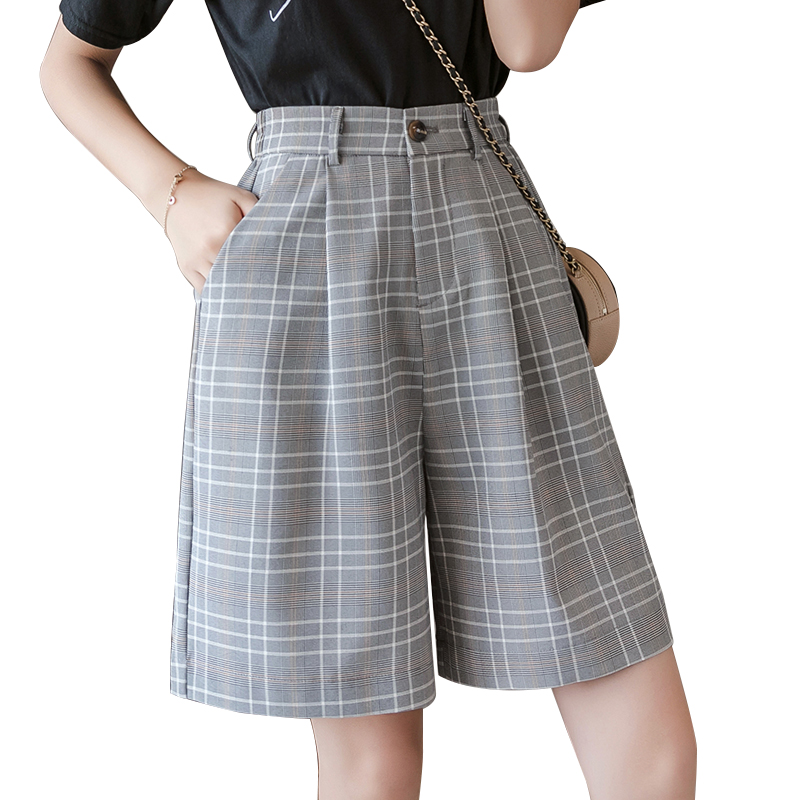 S-3XL Sashes Booty Shorts High Waist Summer Vintage Plaid Wide Leg Suits Short Women Elegant All Match Straight Belt Shorts Girl