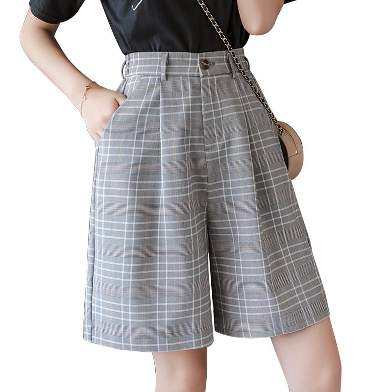 S-3XL Sashes Booty Shorts High Waist Summer Vintage Plaid Wide Leg Suits Short Women Elegant All Match Straight Belt Shorts Girl