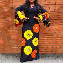 купить Women African Long Dress Autumn Flare Sleeve Floral Sunflower Print Black Sexy Maxi Robe Vintage Female Party Dresses Elegant дешево