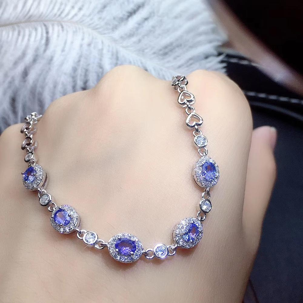 Natural and Real <font><b>Tanzanite</b></font> <font><b>Bracelets</b></font> 925 sterling silver Fine jewelry gems image