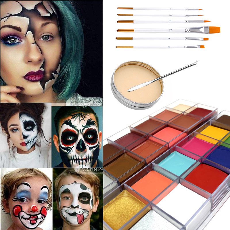 Body Art Oil Painting Flash Color Halloween Combination Set Special Effects Stage Makeup Fake Wound Scars Wax Spatula Tool