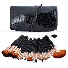 32Pcs Makeup Brushes Set Powder Foundation Eyeshadow professional Cosmetic  Brushes Soft Synthetic Hair With PU Leather Case 120 vivid charming colors eyeshadow with gold leather clutch bag shaped case professional makeup kit cosmetic set