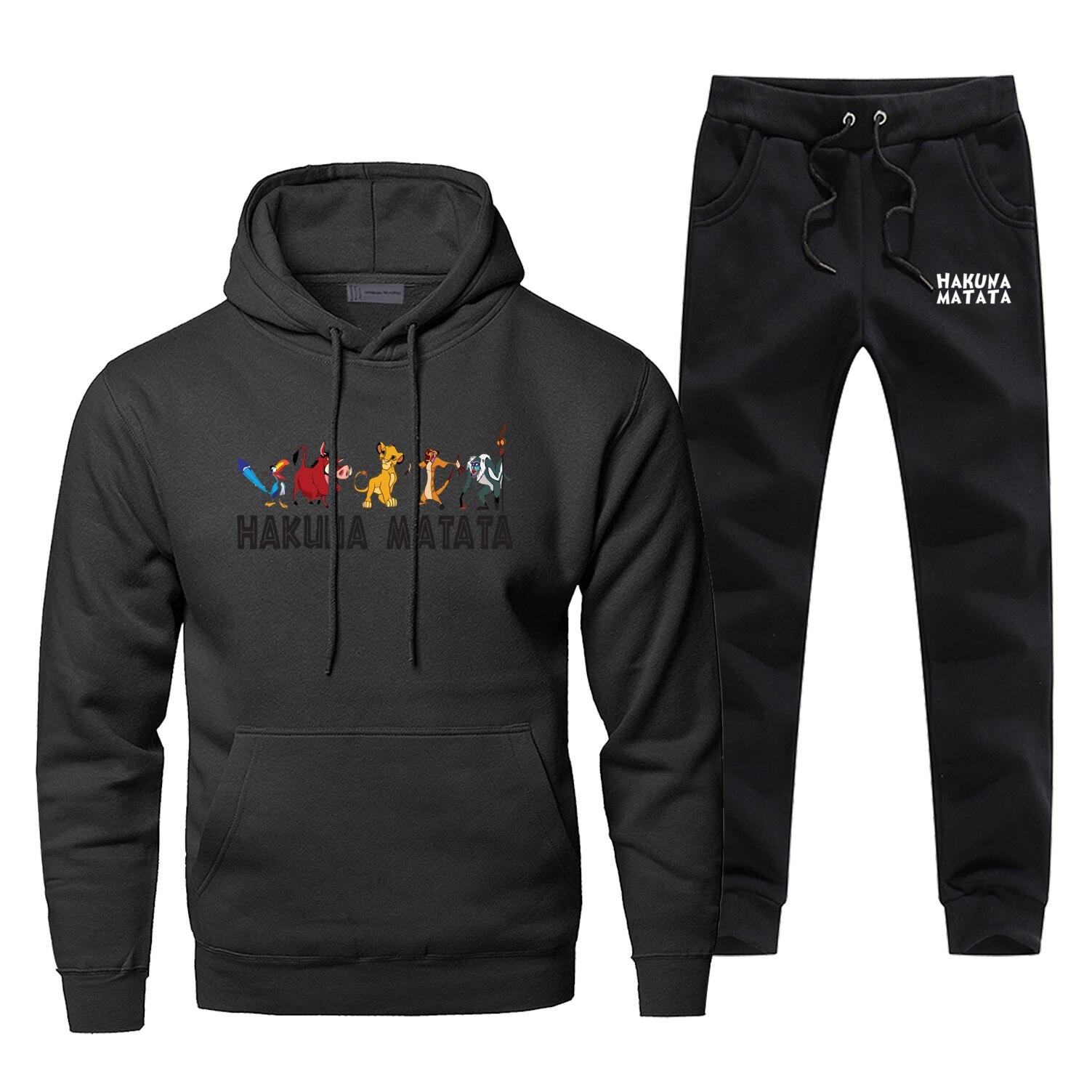 Lion King Hakuna Matata Hoodies Pants Set Men Hoodie Sweatshirt Mens Hoodies Pollover 2 Piece Set Streetwear Male Sweatshirts