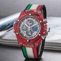 Reloj cronógrafo de cuarzo deportivo de lujo de tendencia a la moda de los hombres FOSSIL reloj transparente con correa de Color de silicona reloj Masculino