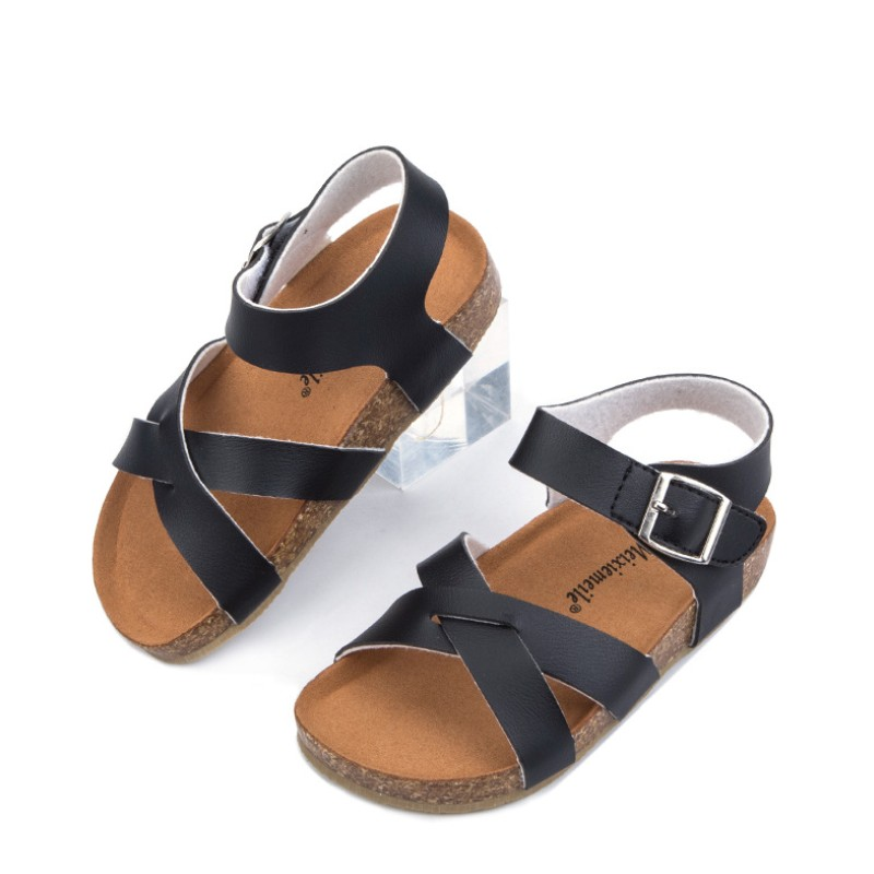 2020 Summer New Microfiber Children's Shoes Boys Girls Children's Cork Beach Shoes Non-slip Baby  Flat Breathable Sandals