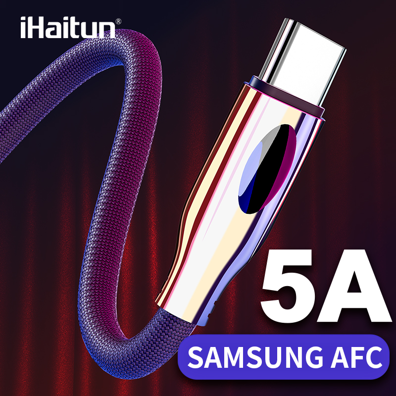 iHaitun Type C USB Cable For Samsung Galaxy S10 S9 S10E Plus A50 Note 10 9 8 Quick Charge 3.0 4.0 PD Data Phone Charger Oneplus|Mobile Phone Cables| |  - AliExpress