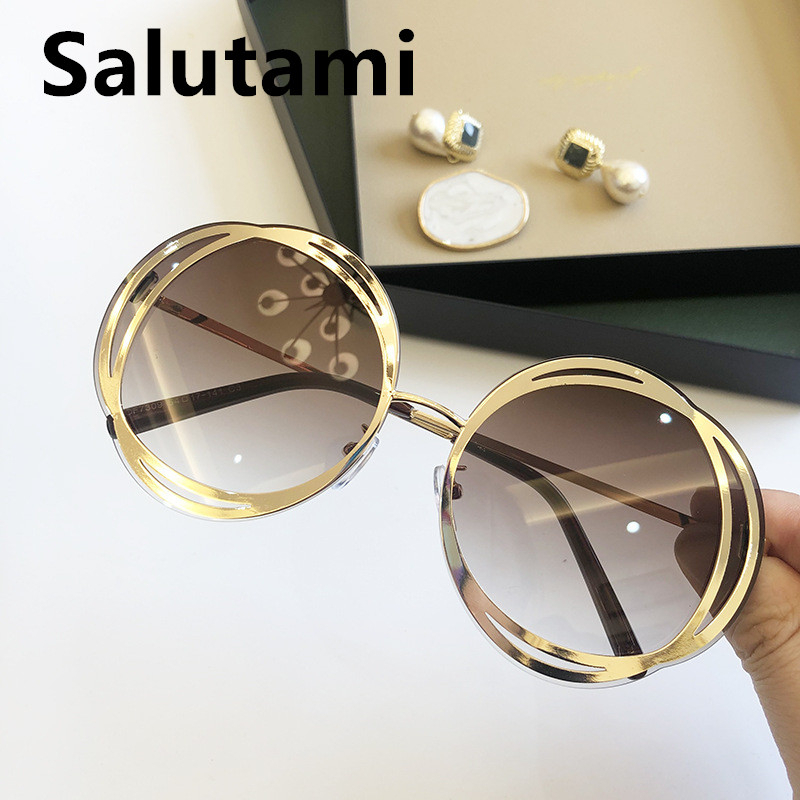 2020 New Fashion Luxury Brand Alloy Round Sunglasses For Women Chic Circle Gradient Sun Glasses Female Goggle Shades Ins Hot