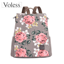 2019 Multifunction Floral Printed Canvas Backpack for Women High Quality Design School Bags Girls Anti-theft Travel Rucksack casual women s backpack with canvas and printed design
