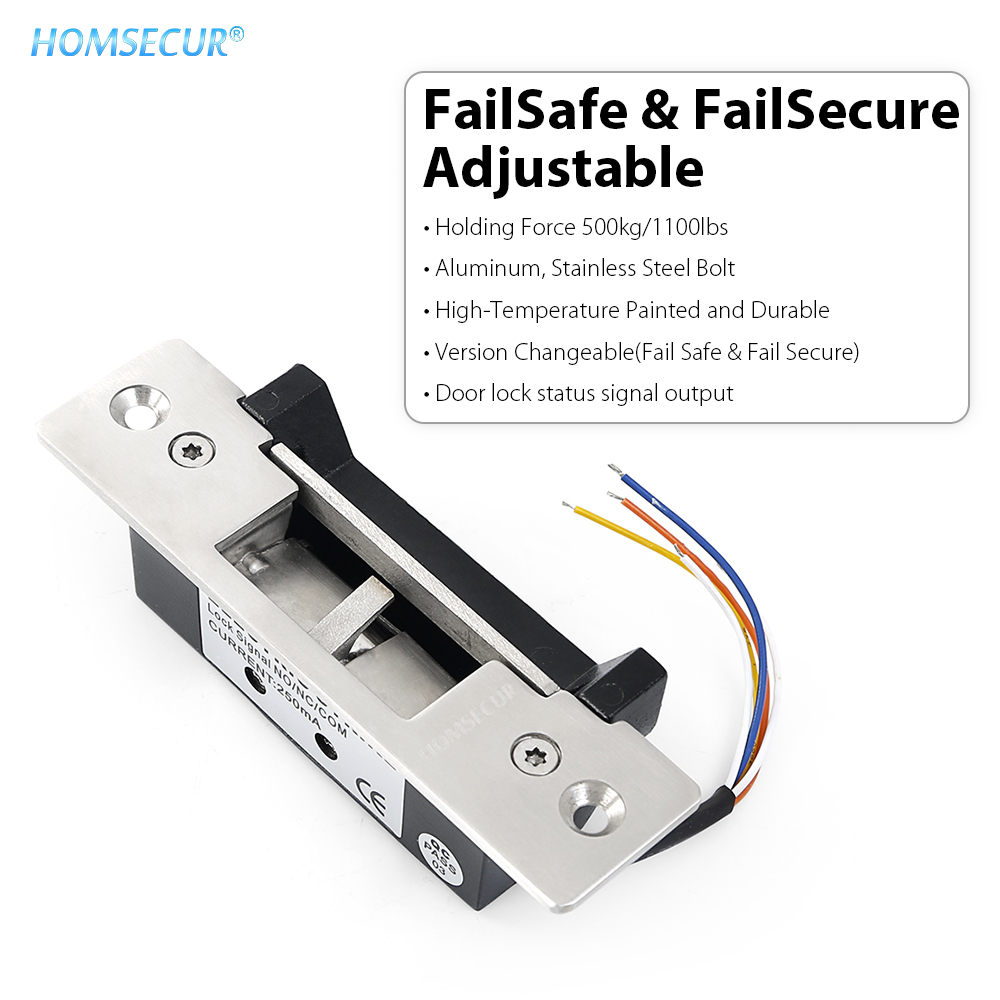 HOMSECUR NO NC Mode Adjustable Electric Door Strike Lock Door Status Output