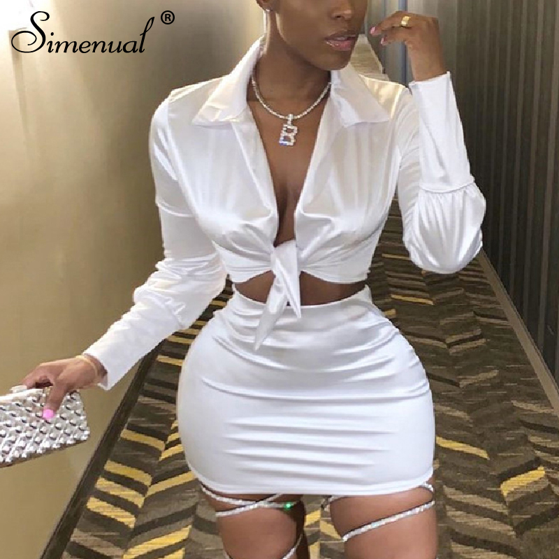 Simenual Sexy Fashion Satin Matching Sets Women V Neck Party Hot Silk 2 Piece Outfits Long Sleeve Bandage Crop Top And Skirt Set