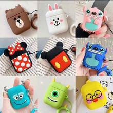 mini airpods Bluetooth Earphone Case for Airpods Protective Cover for Air Pods 1 2 Box Key Ring Strap Cute Cartoon Silicone 3d lucky rat cartoon bluetooth earphone case for airpods pro cute accessories protective cover for apple air pods 3 silicone