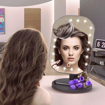 Ekran dotykowy LED luksusowe lustro do makijażu z 20 diodami LED z 10-krotnym powiększeniem Miroir 180 stopni regulowany stół lustro do makijażu