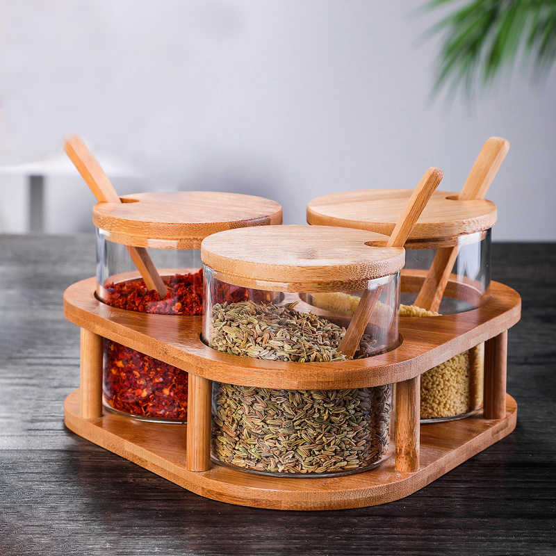 Rumah Tangga Perlengkapan Dapur Garam Meja Kaca Kayu Penutup Toples Bumbu Botol Minyak Zaitun Sugar Bowl Bumbu Dapur Alat