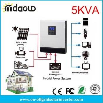 Mdaoud Off-Grid Solar Inverter 5KVA MPPT 60A/80A PWM50A DC 48V TO AC 220V / 230V Pure Sine Wave mkp5000 242b c off grid pure sine power inverter dc 12v ac 220v 5000w 10000w 24 dc to 220 ac inverter dc to ac inverter
