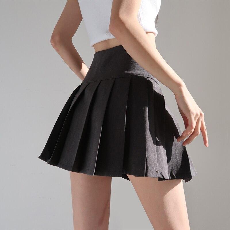 Minifalda plisada de tiro alto para mujer, falda con cierre lateral con cremallera