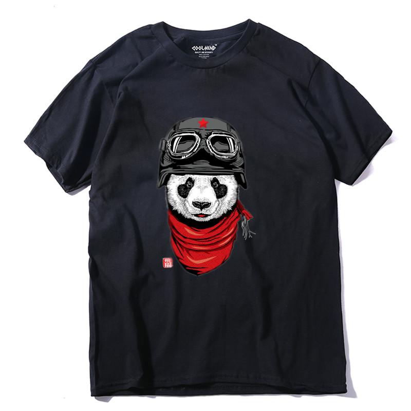 IMANFIVE QI0428A 100% cotton short sleeve pilot panda men T shirt casual coo summer men Tshirt male loose t-shirt tees LMYX