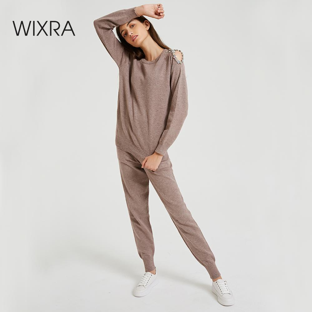 Wixra Sweater Suit And Sets Casual Knitted Trousers+Jumper Tops Hollow Out 2PCS Solid Sets For Ladies Autumn Winter