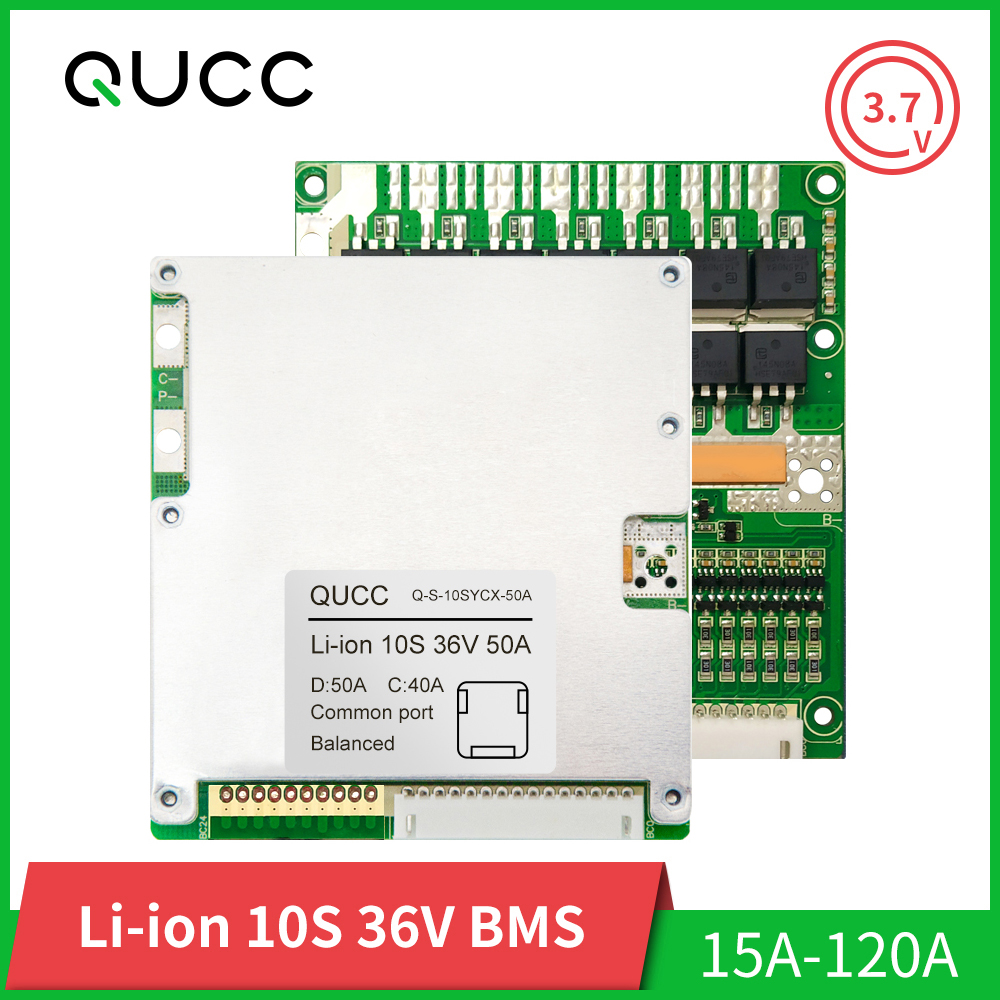Qucc <font><b>BMS</b></font> <font><b>10S</b></font> 36V <font><b>18650</b></font> Balancer Lithium Ion Battery Protection Board Pack Electric Scooter <font><b>BMS</b></font> 15A 20A 30A 40A 50A 60A 80A 100A image
