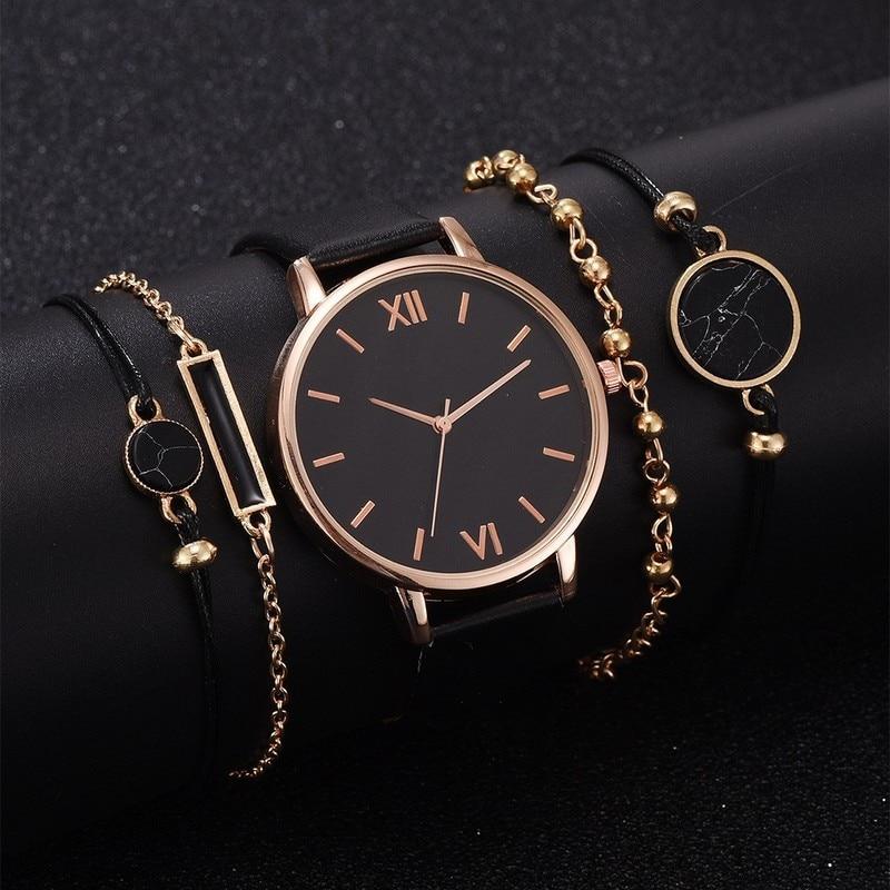 5 шт., Женские кварцевые наручные часы с кожаным ремешком