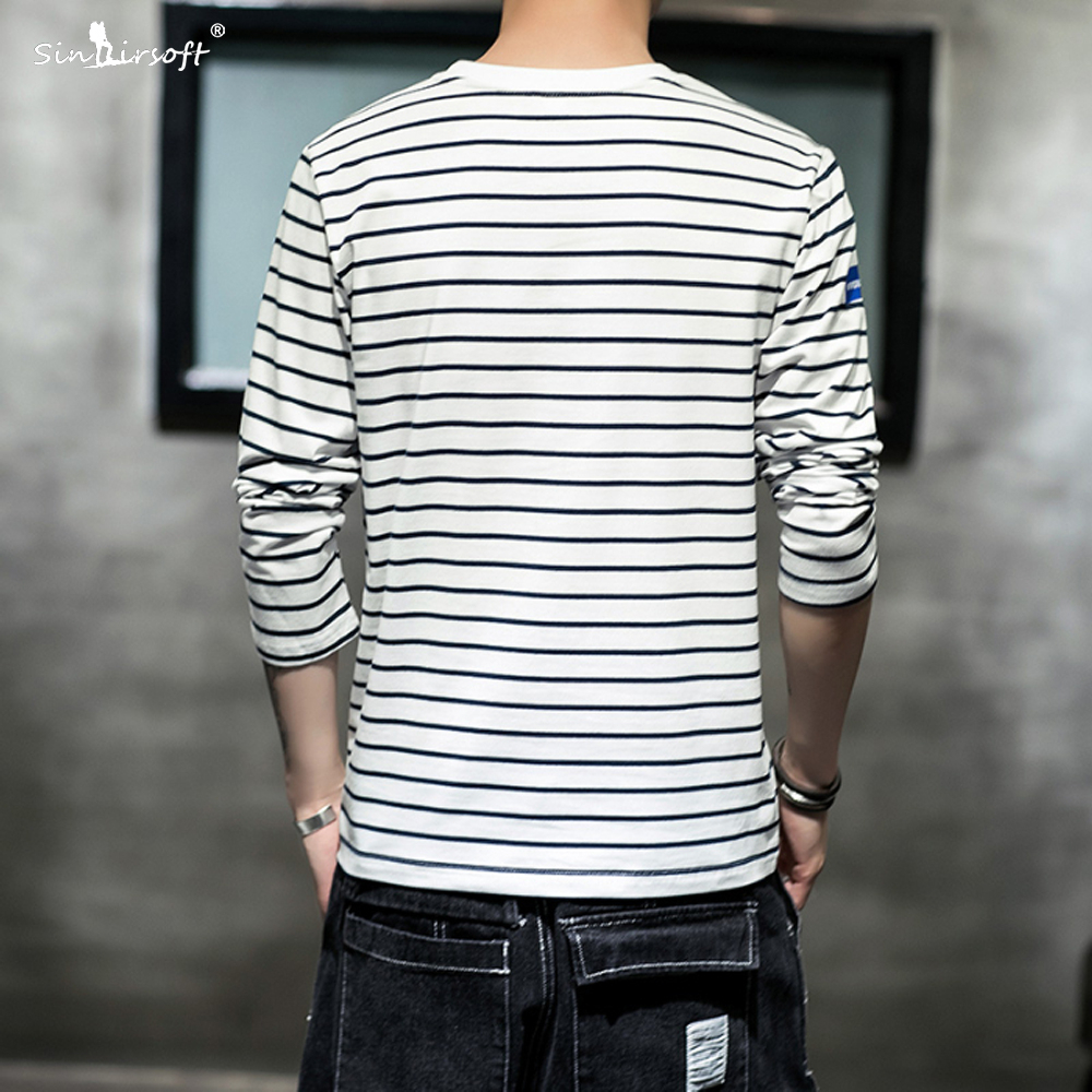 New Listing Men 39 s Striped Letter Printing T shirt Skinny Slim Tees Male Casual Streetwear Autumn Fashion Tops Clothing Hot M 4XL in T Shirts from Men 39 s Clothing