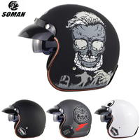 SOMAN Scooter Helmet 3/4 Open Face Motorcycle Chopper Helmet Retro Goggle Capacetes Vintage Casco Moto Leather Motorbike