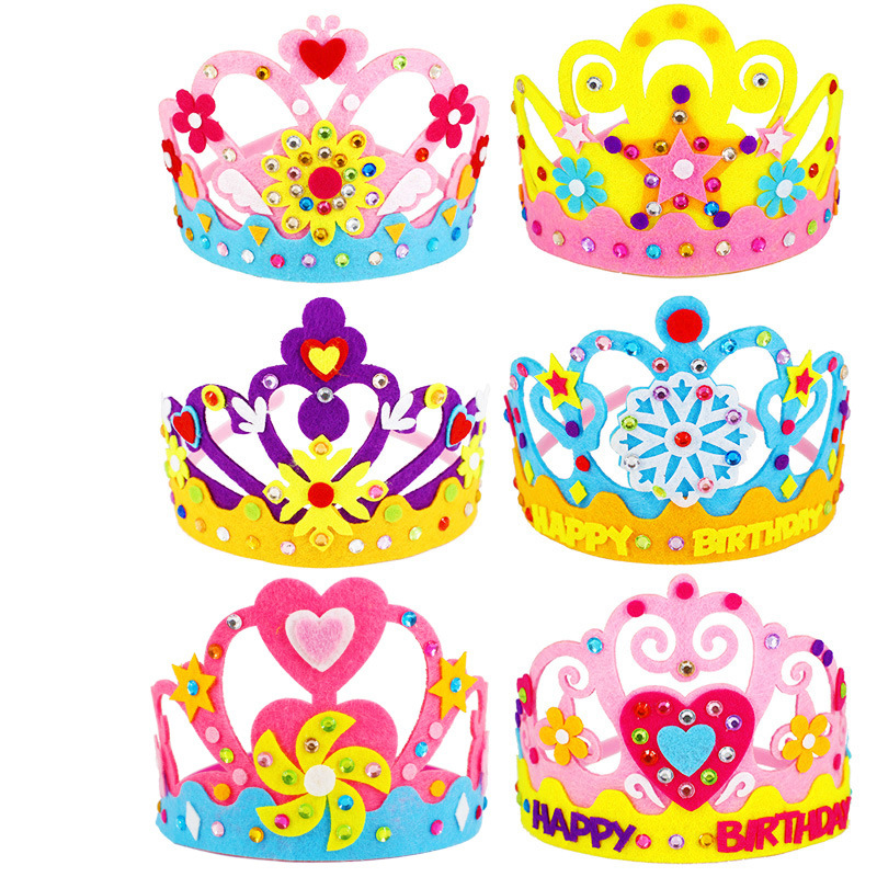 Non-woven DIY Crown Hat Princess Headwear Toy Handmade Creative Arts And Crafts Toys Learning Children Birthday Gifts