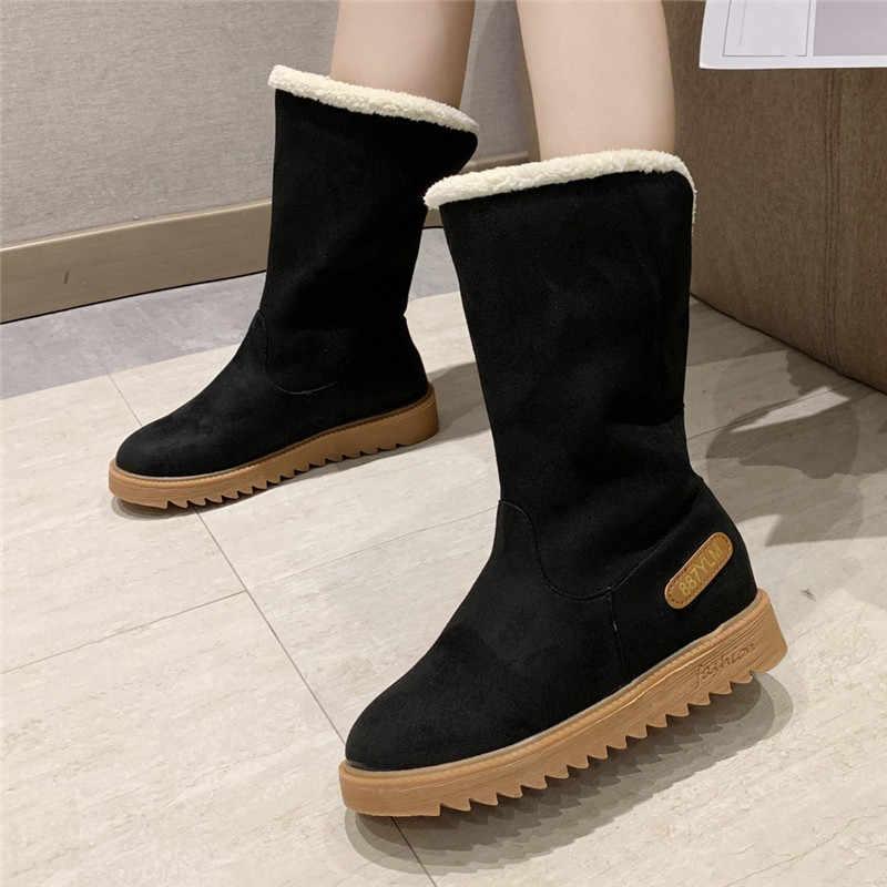 ผู้หญิงหิมะรองเท้าผู้หญิง SLIP-ON แบนสีทึบกลางรองเท้าอุ่นรอบ Toe รองเท้า botte hiver femme