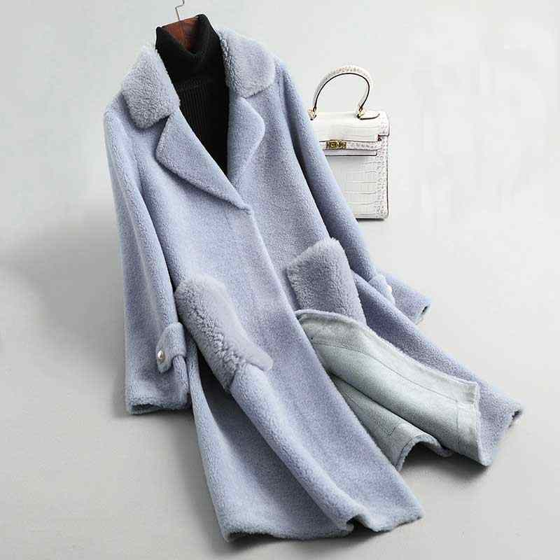 High Quality Natural 100% Cashmere Blue Coat Elegant Suede Inner Furry Coat Fashion Winter Warm Coat With Pocket Casaco Women