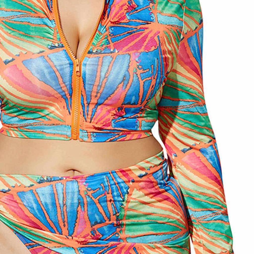 38 # mujeres de alta cintura de impresión dividida de manga larga de playa de tres piezas conjunto traje de baño Sexy nuevo de talla grande de manga larga 2020 verano
