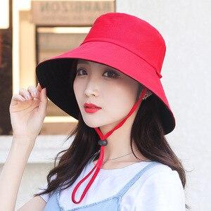Anti-UV cap Sun Protection Female Cap Women Cotton Summer Sun Hats Wide Brim Foldable Fashion Beach Hat Adjustable Lace-Up hat