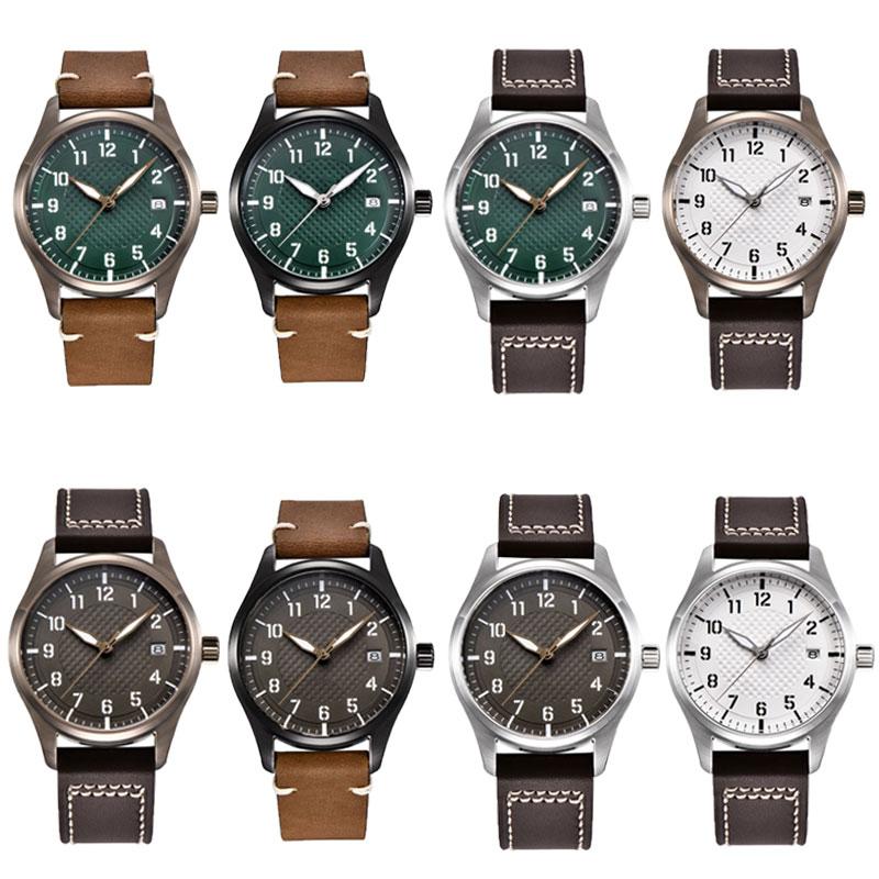 Corgeut Brand mens watch 40mm sterile dial luminous date NH35 automatic movement pilot waterproof  mechanical wristwatch mens