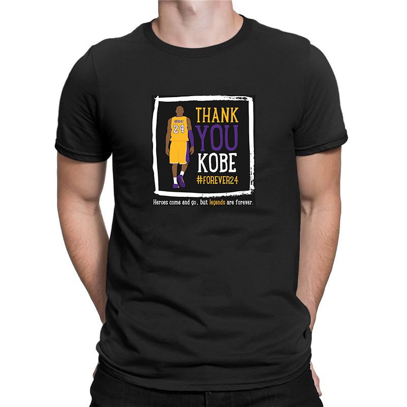 Kobe Bryant T-Shirt Herobs Come And Go But Legends Are Forever  Men Fashion Design T Shirt Cotton Loose Casual Tee Forever 24