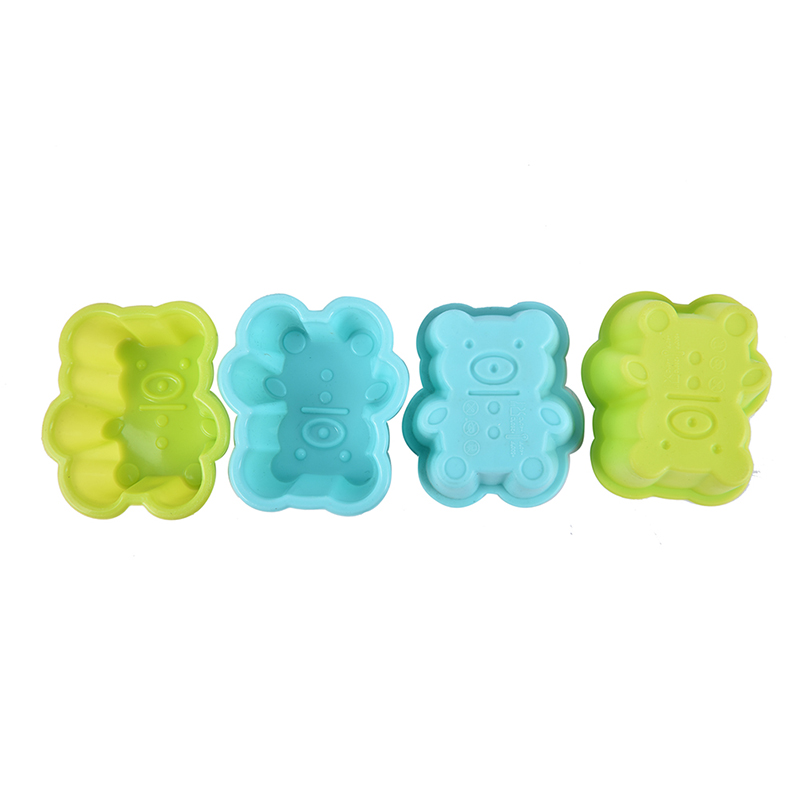 4pcs Cute Bear Silicone Cookies Molde Cake Mold Soap Jelly Muffin Cup Kitchen Dining Bar Supplies Bakeware Tools