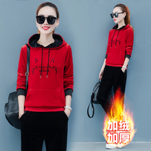 Women Sport Suit Tracksuits Winter Thick velour Hoodie Sweatshirt+sweatpant Casual Jogger Running Workout Outfits Set Sportswear недорого
