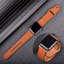 Genuine leather loop for Apple Watch Band 44mm 42mm Apple Watch Strap 4 5 38mm 40mm iWatch 3/2/1 Replacement Bracelet fohuas genuine leather loop for apple watch band 42mm iwatch leather strap 38mm bracelet flag pattern with adapter connector