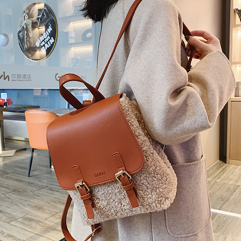 Woolen Cloth Backpacks For Winter Women Fashion Female PU Leather Backpack College Book Backpack Woman Shoulder Bags Mochilas