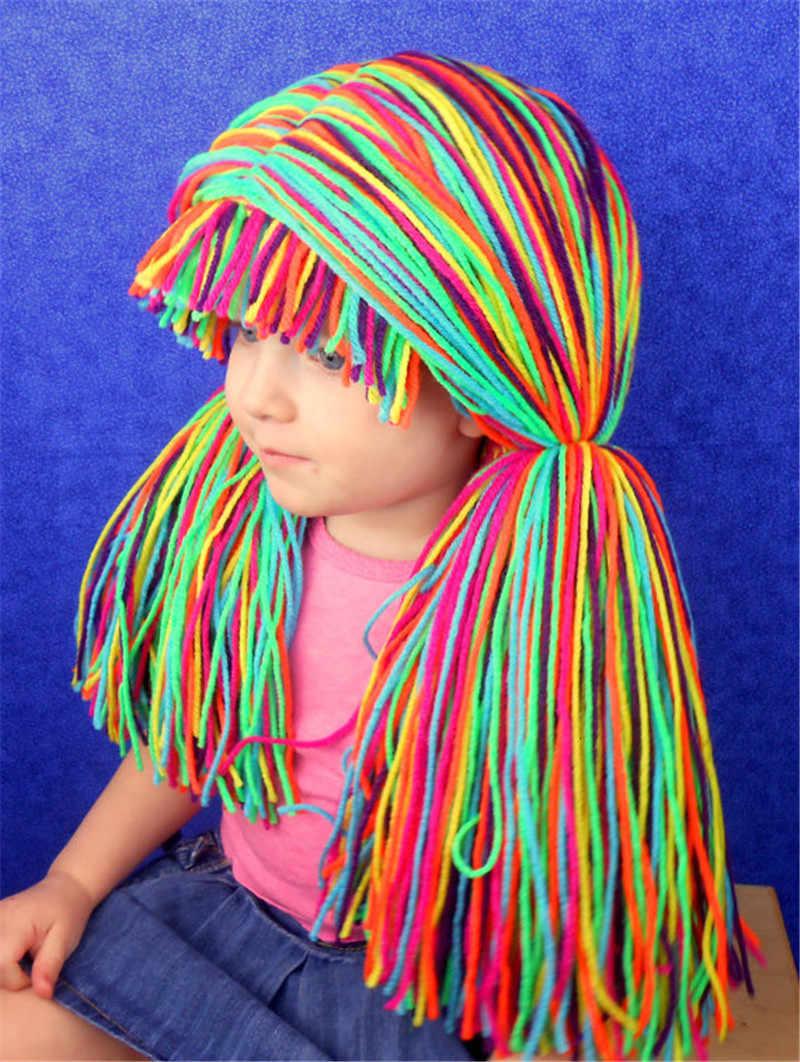 Kız çocuk cadılar bayramı hediyeler kostüm peruk komik şapka el yapımı kış tığ işi lahana yama palyaço Pigtail çekim Prop peruk kap