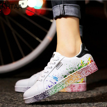 Women Flat Sneakers Lace up Colorful Graffiti 2020 Spring Platform Female PU Fla