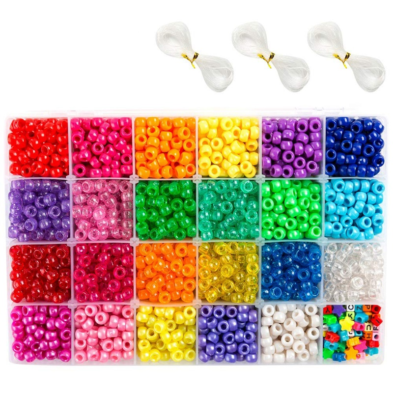Pony Beads, 33,00 Pcs 9mm Pony Beads Set In 23 Colors With Letter Beads, Star Beads And Elastic String For Bracelet Jewelry Maki