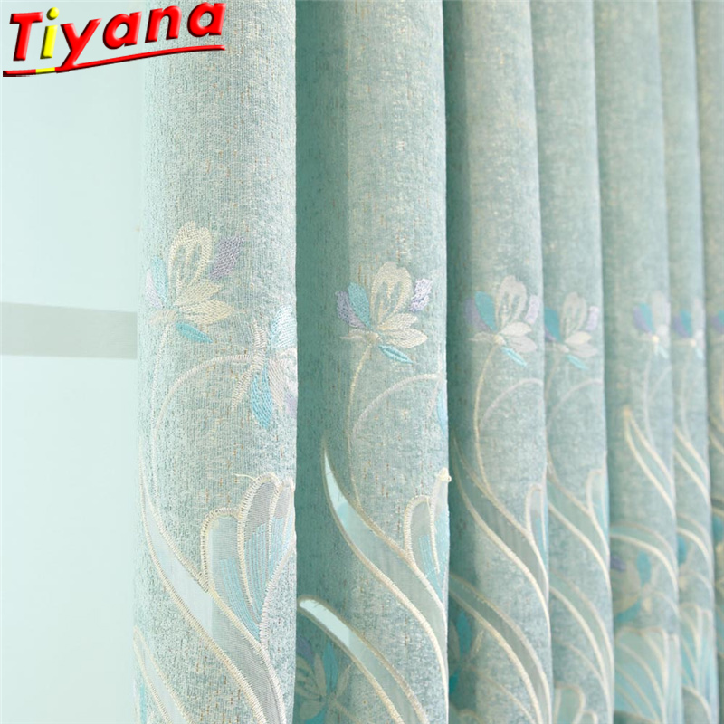 Chenille Luxury Embroidery Tulle Curtain for Living Room Semi Blackout Curtains Green Flower Voile WP425#40
