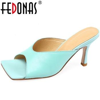 FEDONAS Summer Peep Toe Genuine Leather Felame Slippers 2020 Newest Fashion High Heels Sandals Women Basic Casual Shoes Woman