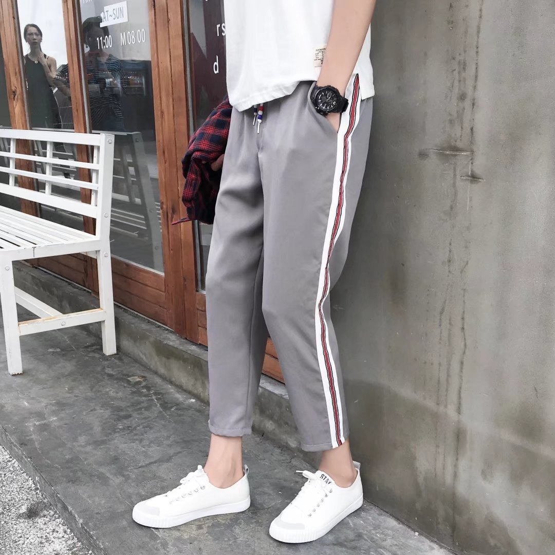 2018 Summer Wear New Style MEN'S Casual Pants Korean-style Trend Skinny Sweatpants Ankle Banded Pants Harem Athletic Pants MEN'S