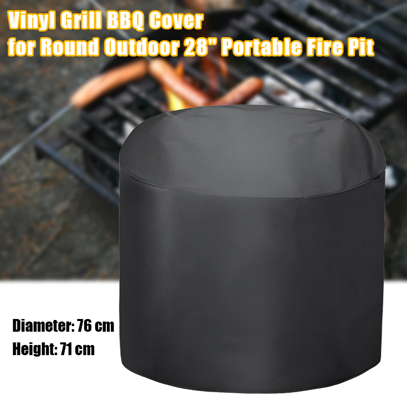 "3/4 Length Vinyl Grill BBQ Cover For Round Outdoor 28"" Portable Pit Black Waterproof BBQ Cover Heavy Duty BBQ Accessories"