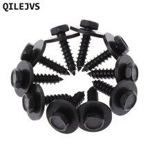 QILEJVS 10 Pcs 4.8x19mm Self-Tapping Screws Captive Loose Washer 8mm Hex Head Black