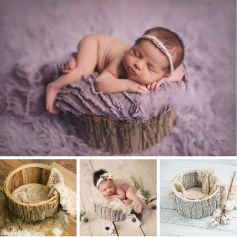 Newborn Photography Props Baby Photo Posing Container Natural Bark Infantil Photo Shoot Accessories Forest Theme For Studio