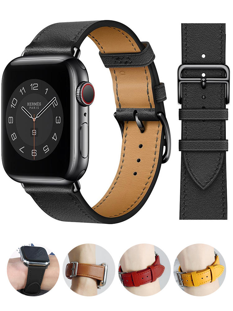 Single ring Leather Strap suitablefor iWatch 38mm 42mm Susiness sports band Suitable