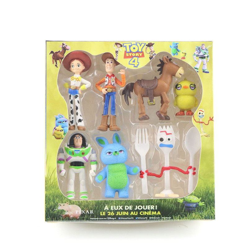 New 7pcs High Quality Toy Story 4 Buzz Lightyear Forky Cartoon Woody Jessie Action Figure Collectible Doll Toys For Child