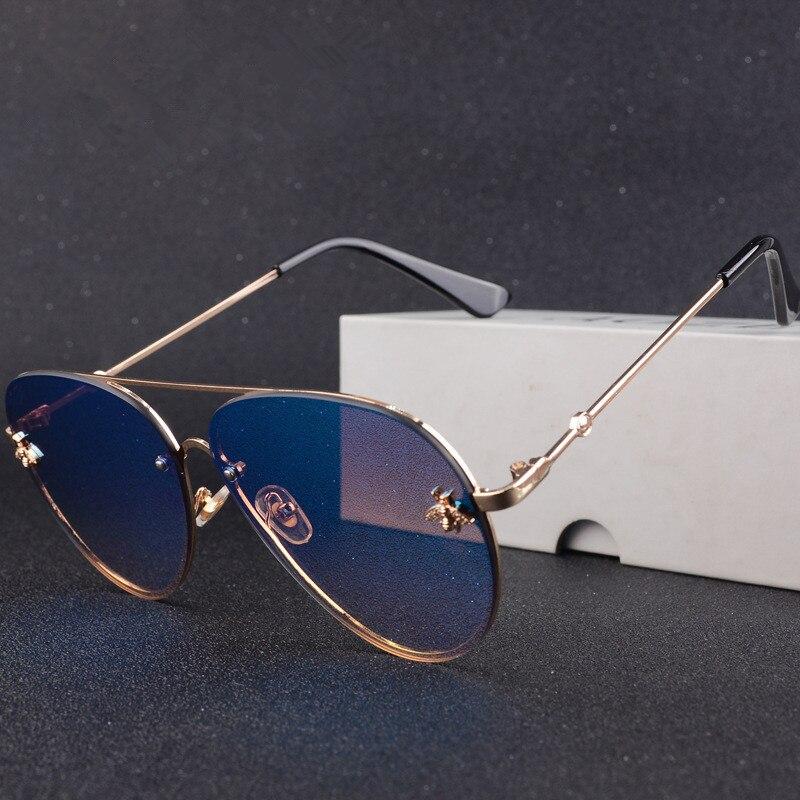 Luxury Brand Designer Female Rimless 2020 Sunglasses Aviation Women Sun Glasses  Gradient Shades Little Bee Lens Ladies UV400