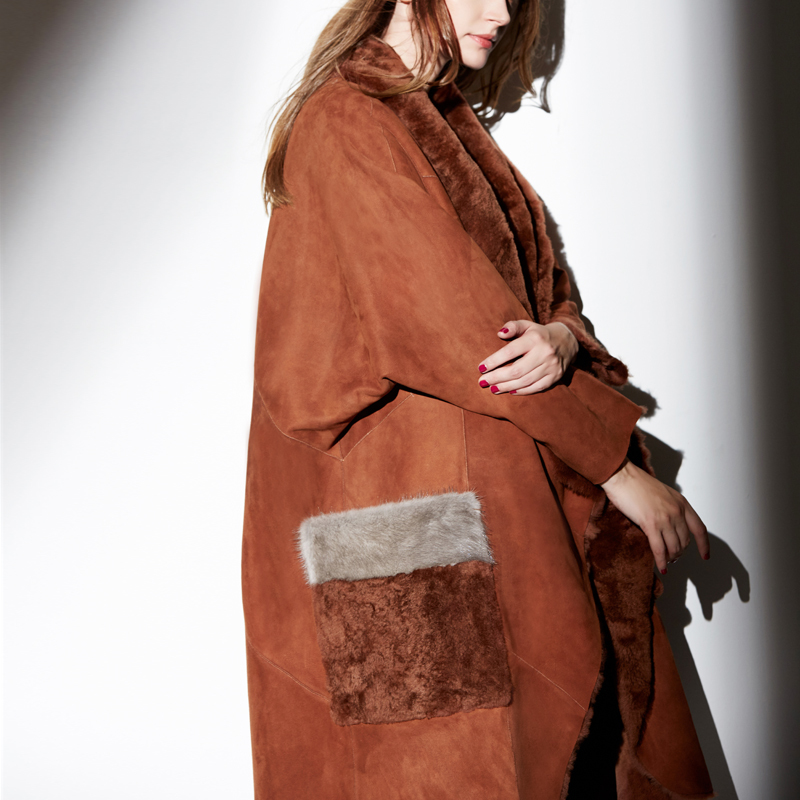 100% Real Wool Double-Faced Fur Coat For Women Winter Warm Thickening Jackets Mink Fur Decorate Dames Jas 2020 MF326