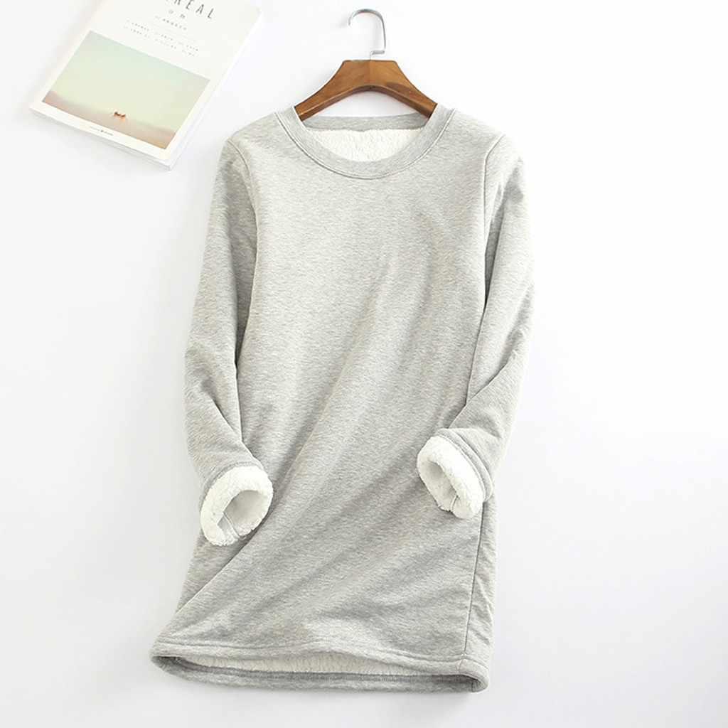 Camiseta de mujer Womail, camiseta cálida de manga larga de terciopelo para invierno, ropa de calle Vintage de algodón, camiseta femenina lisa de planta gruesa para mujer